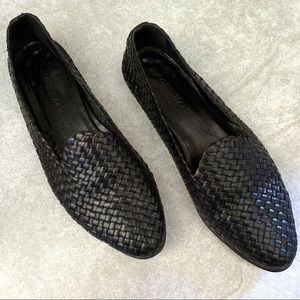 Cole Haan Black Leather Woven Smoking Loafers